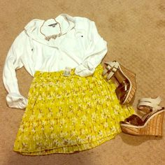 Romantic Style Host Pick! AE Summer Skirt  NWT yellow pleated skirt with flower pattern and braid detail on waistband. All pleats are intact, but sewing on the pleat next to the side zipper is a little undone (see third photo). Not even noticeable because the pleat covers it. Please feel free to make an offer or ask any questions!  American Eagle Outfitters Skirts