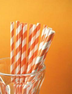 Orange paper straws - cupcakesocial.etsy.com