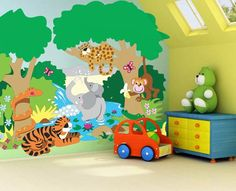 mural for kids room monkey | ... Ideas for Kids. See our Fun and Easy Wall Murals in Room Settings