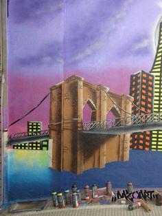 Brooklyn. March 2010. Graffiti & Mural Art. Mixed media on outside wall of 3m x 4m. Entry of a particular parking in Vilanova del Camí, Anoia (Barcelona) / Graffiti y Arte Mural. Técnica mixta sobre pared exterior de 3m x 4m. Vivienda particular / Tècnica mixta sobre paret exterior de 3m x 4m. Habitatge particular - Igualada, Santa Margarida de Montbui, Odena, Pobla de Claramunt, Capellades - by #Dazo in #DazoArt