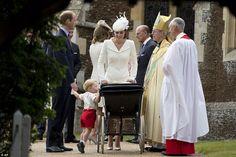 Curious Prince George peaked inside his baby sister's pram to get a peek at the nine-week ...