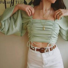 Summer Short Square Collar Women Pleated Adjustable Drawstring Tops Vintage Puff Sleeve Casual Solid T Shirt 2019 New Crop Top Outfits, Trendy Outfits, Cute Outfits, Fashion Outfits, Womens Fashion, Fashion Sale, Queer Fashion, Tomboy Outfits, Girly Outfits