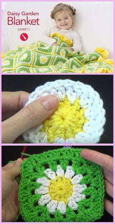 Crochet Daisy Flower Garden Blanket Free Pattern-Video