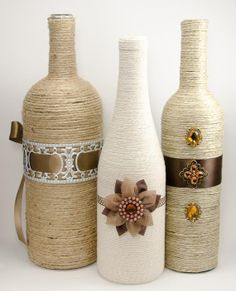 Topaz and Brown Trio of Glass Vases by AsYouWishDecor on Etsy