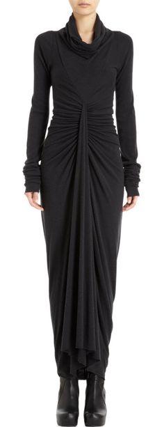 How elegant is Rick Owens' Cowl Neck Dress? (Added to my wish list! Fashion Mode, Dark Fashion, Modest Fashion, Fashion Beauty, Fashion Looks, Fashion Outfits, Womens Fashion, Look Short, Trends 2018