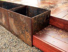 steel planter box — LiveModern: Your Best Modern Home – modern landscape design front yard Metal Planter Boxes, Corten Steel Planters, Fence Planters, Diy Planter Box, Diy Planters, Modern Landscape Design, Modern Landscaping, Contemporary Landscape, Metal Fence