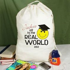 Off to the Real World Personalized Laundry Bag by GiftsForYouNow.com. $19.98. Personalized Graduation Laundry Bag - Personalized Laundry Bag Its time to put away the books and begin a new life in the Real World. Celebrate this new beginning by presenting your new graduate with their very first Personalized Laundry Bag. For fun fill it with detergent and quarters for inspiration. Our Personalized Graduation Laundry Bag makes a good clean gift for any college graduate or ap...