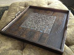 This is a hand crafted ottoman tray, 24x24, by The Twisted Nail on Etsy.