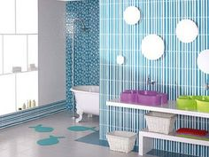 Simple Blue Themes Kids Bathroom with Cute Wall Decal Design and Small White Bathtub also Wall Mounted Circle Mirrors also Modern Shower and Shelves Decoration