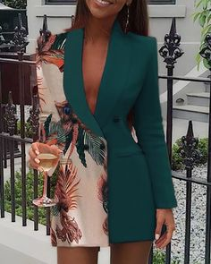 Trend Fashion, Blazer Dress, Pattern Fashion, Suits For Women, Chic Outfits, Sleeve Styles, Dresses Online, Color Blocking, Work Wear