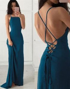 teal lace up open back long prom dress, PD59612