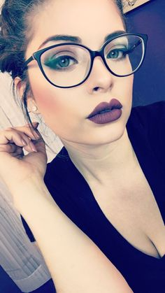 Scroll through the slideshow below for Powers' pro tips on going dark, the best dark lip looks of the Fall 2017 season and, last but not least, our favorite moody lipsticks to shop now. Cute Glasses, New Glasses, Girls With Glasses, Makeup With Glasses, Glasses Style, Glasses For Round Faces, Eyeglasses For Women, Sunglasses Women, Lunette Style