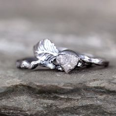 Twig & Leaf Raw Diamond Engagement Ring Set - Nature Inspired - Raw Uncut Rough Diamond Rings - Raw Diamond Jewellery Made in Canada by ASecondTime on Etsy https://www.etsy.com/listing/272219112/twig-leaf-raw-diamond-engagement-ring