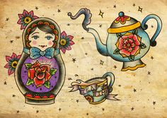 matryshka tattoo flash by little-dark-dreams.deviantart.com on @DeviantArt