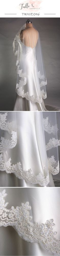 Wedding Bridal Alencon Corded Lace Veil Bridal Accessories Fingertip / Waltz Veil