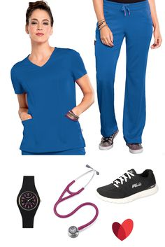 "Athletic themed scrub outfit inspiration by allheart featuring: Scrub top (royal blue w/ pink) - Bliss By Smitten Women's V-Neck Solid / Scrub pant - Bliss By Smitten Women's Ponte Front Panel / Watch - Nurse Mates Women's Uni-Watch / Stethoscope (raspberry) - 3M™ Littmann® Cardiology IV™ 27"" Stethoscope / Shoe- Fila Women's Athletic Shoe"