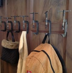 Fabulous Home Ideas – Uncategorized  I like these old iron vice grips, being used as bag & coat hangers