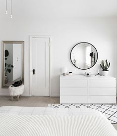Scandinavian bedroom interior design white palette monochrome