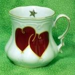 Porcelain Victorian Mug with vivid red hearts.Hand-decorated in the U.S.AFine Porcelain / Gold Trim