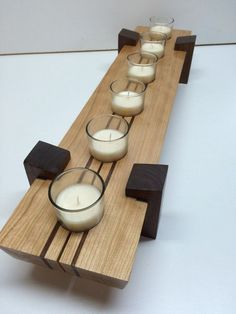 Wooden candle holder / Table center piece dimensions 5 x
