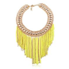 Tassels Style Delicate Rhinestone Inlaid Collar Necklace(yellow)