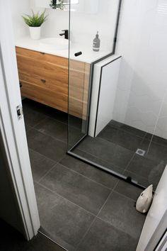 Bathroom Renovations Perth - Bathroom Trends Black Shower Screen, Black Trim Shower Screen, White He Dark Floor Bathroom, Charcoal Bathroom, Dark Bathrooms, Modern Master Bathroom, Upstairs Bathrooms, Small Bathroom, Bathroom Black, Bathroom Trends, Bathroom Renovations