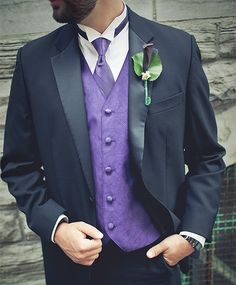 Purple groom attire for the wedding of Crécia + Jason
