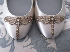 Art Deco Ivory Dragonfly Ballet Flats Wedding Shoes - Any Size - Pick your own shoe color and crystal color. $125.00, via Etsy.