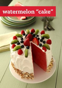 "Watermelon ""Cake"" -- Put your seasonal summer produce to delicious use with this sweet and refreshing dessert recipe, ready to enjoy in just 20 minutes time."