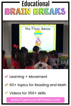 Fluency and Fitness is the BEST site to integrate brain breaks and academic skills! Find tons of great brain breaks ideas for Kindergarten and elementary students. All the brain break videos are fun, engaging, and so perfect for movement breaks in the classroom. The Fluency and Fitness subscription website has over 700 videos for K-2. They teach over 60 literacy and math topics on 350+ skills while providing fun movement breaks! Click to SUBSCRIBE! #brainbreaks #kindergarten #numbersense