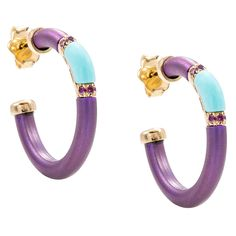Refurbished Pre-Owned Chantecler 18k Gold Contemporary and Purple Sapphire Earrings