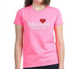 Cafepress Personalized Married (Add Your Wedding Date) Women's Dark T-Shirt, Size: Small, Pink