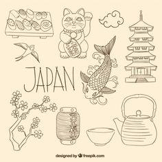 Japanese elements in sketchy style Free Vector Bullet Journal Japan, Bullet Journal Ideas Pages, Bullet Journal Inspiration, Japanese Drawings, Doodles, Shrink Art, Japanese Quilts, Japon Illustration, Japan Art