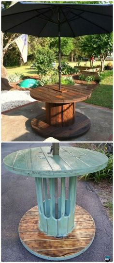 DIY Wire Spool Patio Table - Wood Wire Spool Recycle Ideas #Furniture