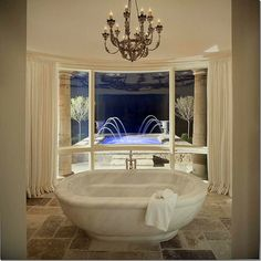 The MARBLE Tub!  Amazing!  The bathroom has its own garden and fountain.