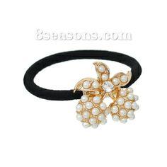 Nylon Circle Ring Hair Band Ponytail Holder Black Acrylic Pearl Imitation Ball Cherry Gold Plated 17cm long,5PCs  (C00486)