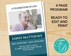 Funeral Program Template Order Of Service Memorial Program