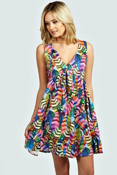 Amy Kaleidoscope Print V Neck Smock Dress at boohoo.com - Error(s) on page