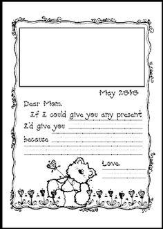 Mothers day writing paper kindergarten
