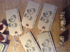 Stamped gift tag mittens and merry Christmas by hollybluecards, £1.00