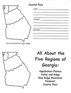Outlined Map Of The Regions Of Georgia That Includes A Color Key - Georgia map label