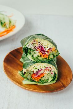 Easy and healthy veggie packed hummus collard wraps. They're full of flavor and perfect for light lunch, appetizer or snack.