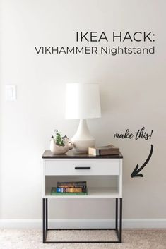 IKEA Hack: A VIKHAMMER Nightstand Makeover - - We finished building our new king size bed frame a few weeks ago (I'll try. Ikea Furniture Hacks, Ikea Hacks, Ikea Furniture Makeover, Ikea Living Room Furniture, Ikea Closet Hack, Hemnes Ikea Hack, Ikea Hack Desk, Ikea Nightstand, Black Nightstand