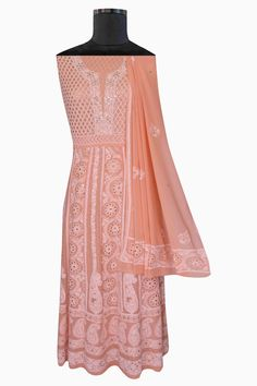 Ada Hand Embroidered Salmon Peach Pure Georgette Chikan Semi-stitched Anarkali Kurta Dupatta With Muqaish Work-01A24177 offers a comfortable and relaxed silhouette to the wearer #Ada #Adachikan #chikankari #chikankariwork #chikankariembroidery #chikankarianarkali #anarkaliset #puregeorgette #muqaishwork #mukaish #handcrafted #handembroidered #chikanwork #handcrafted #indiancraft #lucknowiart #lucknow