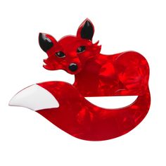 """Erstwilder Limited Edition Faustine Fox resin brooch. """"How fortunate is the flirty Faustine? And what by chance did she exchange for her storied serendipity."""""""