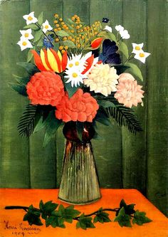 Bouquet of Flowers with an Ivy Branch, 1909 by Henri Rousseau.  Albright-Knox Art Gallery, Buffalo, NY, US. Lillian Serpico ·   2e1884813b24