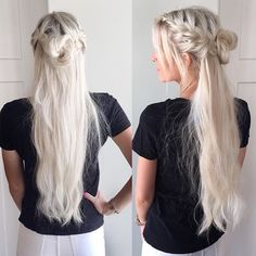 """""""Half up style wearing my @rapunzelofsweden 24 inch hair. (Color #60) Something I feel every fine haired girl should have is a good set of clip in extensions for those days when you need a little more hair! Thanks @johnfriedaus for the #beachblonde salt spray! Loving the texture it gives my braids"""