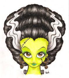 Bride of Frankenstein art Horror Icons, Horror Art, Elsa Lanchester, James Whale, Frankenstein's Monster, Monster Mash, Pop Culture Art, Bride Of Frankenstein, Classic Monsters