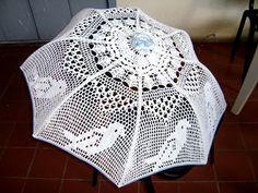 Foto del tejido a crochet de Elisa González Ugando sombrilla