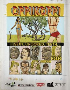 Ahead of Oppikoppi we're looking back over 22 years of Koppi artwork, right from the first festival back in 1994 to this year's event. Festival Posters, African, Graphic Design, Festivals, Comics, Crooked Teeth, Sexy, Artwork, Concerts